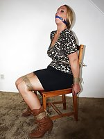 Busty blond chair-tied, ball-gagged, tit-grabbed