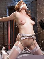 Roped, cleave-gagged, ass fingered and vibed