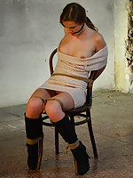 Anouk chair-tied, cleave-gagged, tit-grabbed