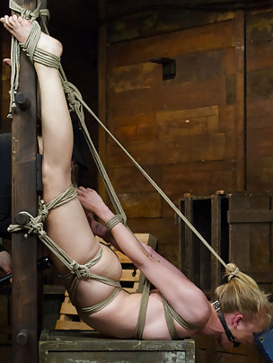 Blondie roped and strapped to the ladder, pegged, forced to cum