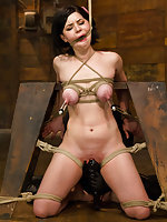 Brunette beauty gets an intense crotch rope predicament