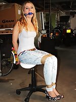 Blond chair-tied, ball-gagged and tit-grabbed