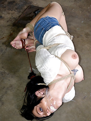 Brunette gets roped, hogtied and tightly gagged