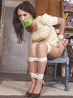 Beautiful brunette gets roped and otm-gagged