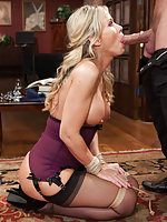 Hot blonde milf roped and ass fucked