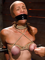 Humiliatingly gagged, tits roped and clamped, whipped and vibed