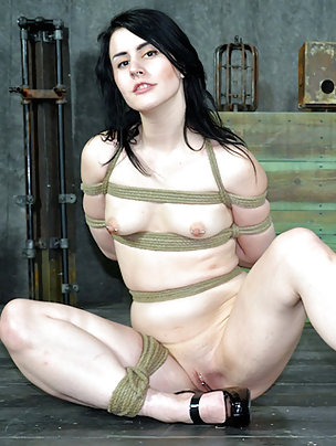 Pretty brunette roped, stripped, gagged and teased