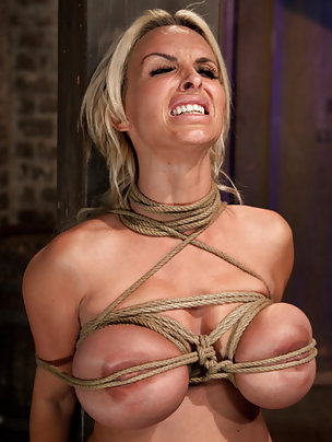 Busty blond milf gets tightly bound, oiled and vibed to cum