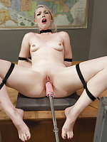 Roped, frogtied and machine-fucked until she squirts
