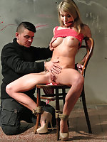 Angel chair-tied, cleave-gagged, stripped, vibed