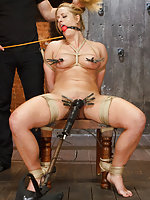 Gorgeous blond in tight crotchrope predicament bondage